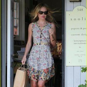 SUNO Mixed Floral Print Cutout Dress